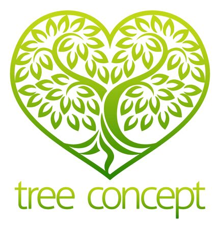 Tree icon heart concept stylised tree with leaves, lends itself to being used with text