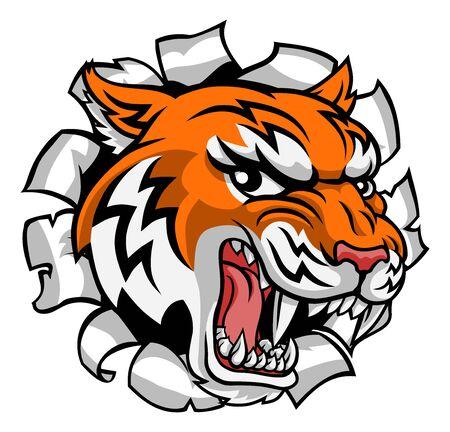 Tiger Animal Cartoon Mascot Vektorgrafik