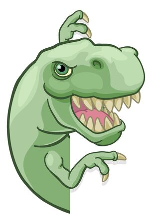 Dinosaure T Rex Peeking and Pointing Sign Cartoon