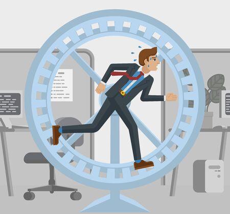 Tired Business Man Running Hamster Wheel Concept Vektorgrafik