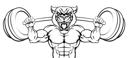 Panther Mascot Weight Lifting Body Builder