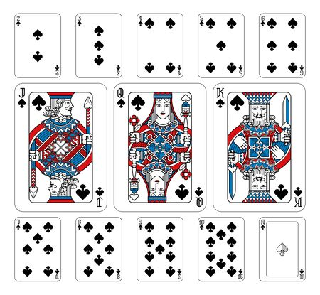 Playing Cards Spades Red Blue and Black