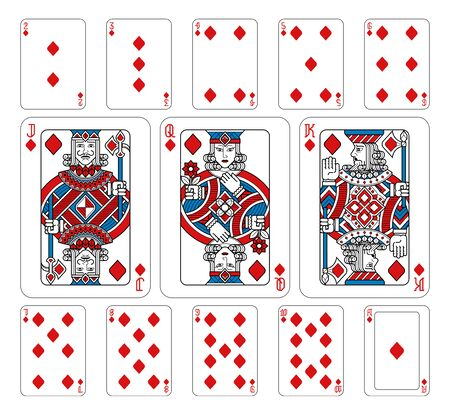 Playing Cards Diamonds Red Blue and Black