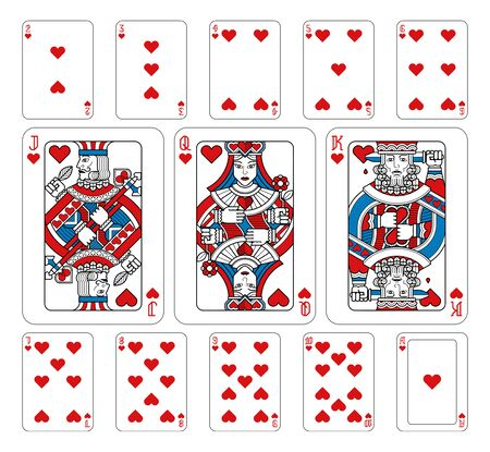 Playing Cards Hearts Red Blue and Black Ilustración de vector