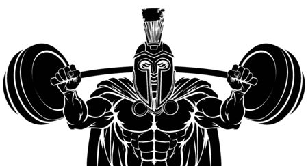 Spartan Trojan Weight Lifting Body Building Mascot Illustration