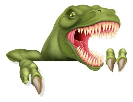 Un personnage de dessin animé effrayant de dinosaure T Rex jetant un coup d'œil au-dessus d'un panneau et le pointant du doigt