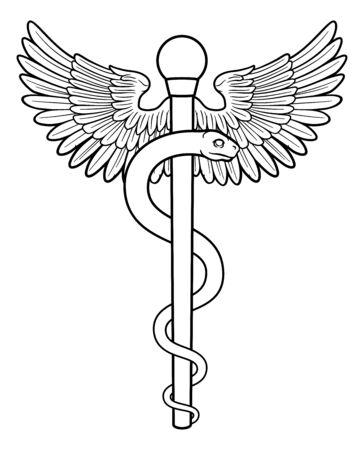 Rod of Asclepius Aesculapius Medical Symbol Ilustracja