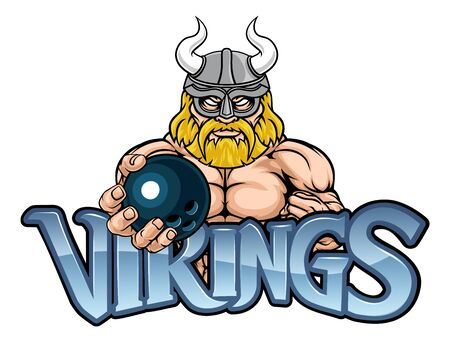 Viking Bowling Sports Mascot Illustration