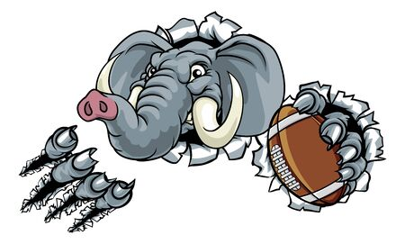 Elephant American Football Ball Sports Mascot