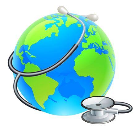 Earth World Globe With Stethoscope