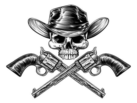 Sheriff Star Cowboy Hat Skull and Pistols Vetores
