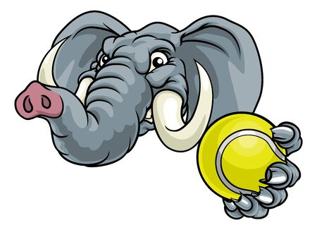 Elephant Tennis Ball Sports Animal Mascot Illustration