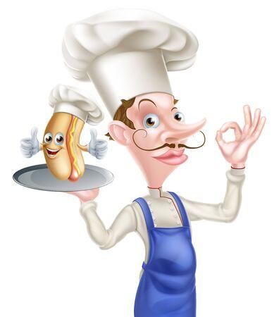 Cartoon Chef Holding Hot Dog