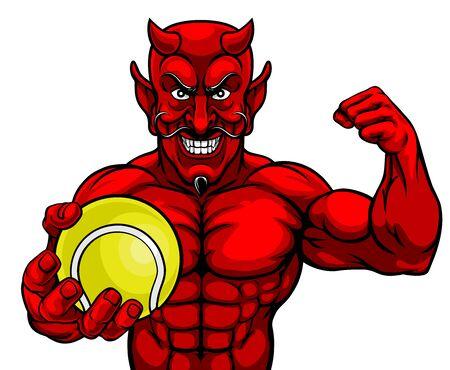 Devil Tennis Sports Mascot Holding Ball