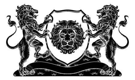 Coat of Arms Lions Crest Shield Family Seal