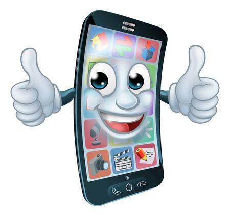 Cell Mobile Phone Mascot Cartoon Character Vektorové ilustrace