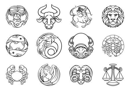 Horoscope zodiac astrology star signs icon set Vektoros illusztráció