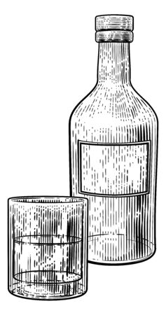 Drinks Glass and Bottle in Vintage Woodcut Style Vectores