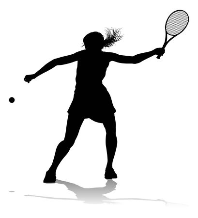 Tennis Silhouette Sport Player Woman