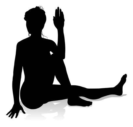 Yoga Pilates Pose Woman Silhouette Ilustração Vetorial