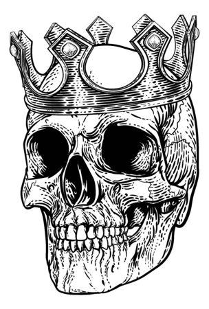 Skull Human Skeleton King wearing Royal Crown Illustration
