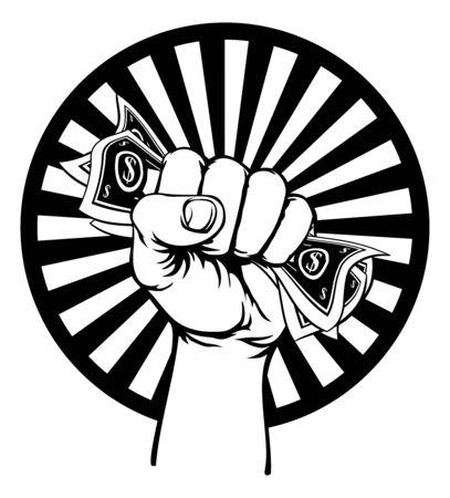 Fist Hand Holding Cash Money  イラスト・ベクター素材