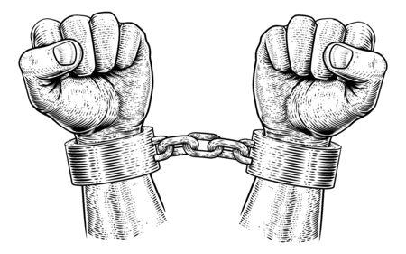 Prisoner Shackles Chained Hands Vintage Woodcut