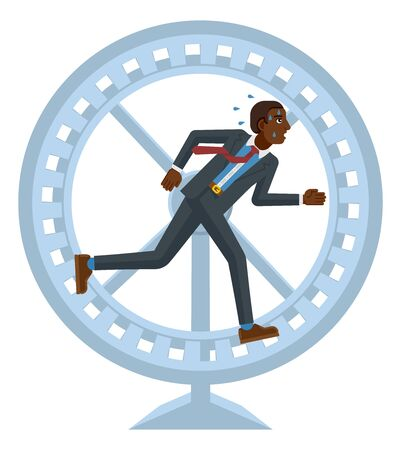 Tired Stressed Business Man Running Hamster Wheel Illustration