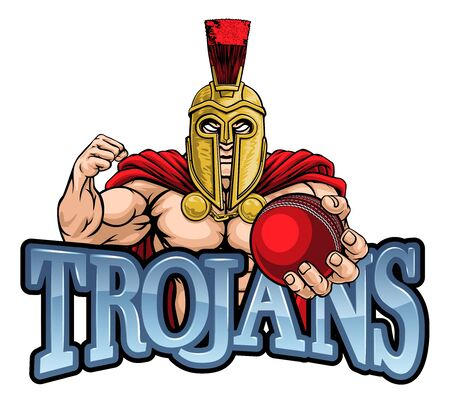 Trojan Spartan Cricket Sports Mascot Illustration