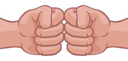 Fist Bump Hands Punch Cartoon