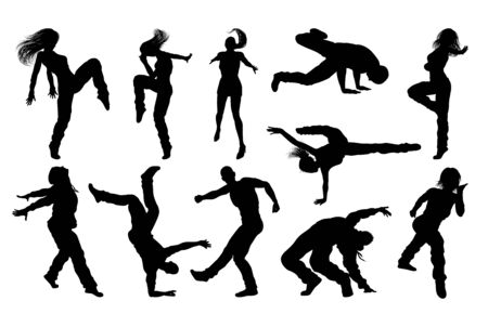 Street Dance Dancer Silhouettes 向量圖像