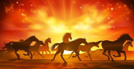Running Horses Silhouette Herd Background Illustration