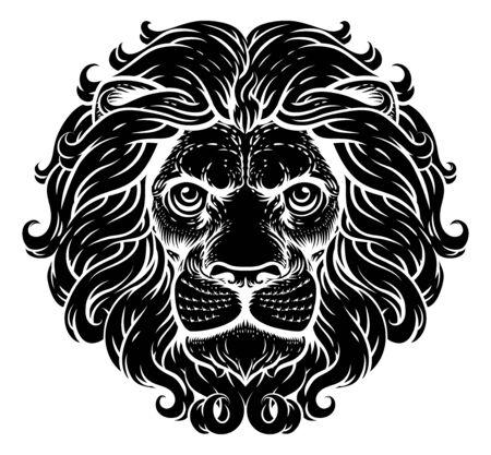 Lion Leo Fierce Lions Head Woodcut Animal Icon