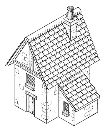 Cottage House Vintage Woodcut Building Map Icon