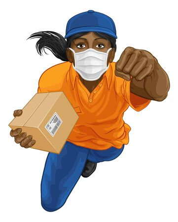 Delivery Superhero Delivering Package Parcel Box
