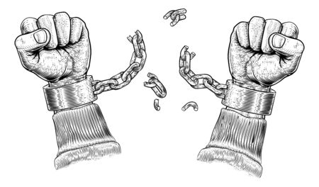 Hands Breaking Chain Shackle Handcuffs Illustration