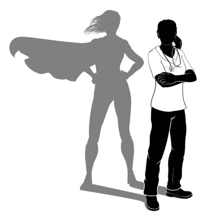 A doctor or nurse woman in silhouette wearing scrubs revealed as a super hero by her shadow.