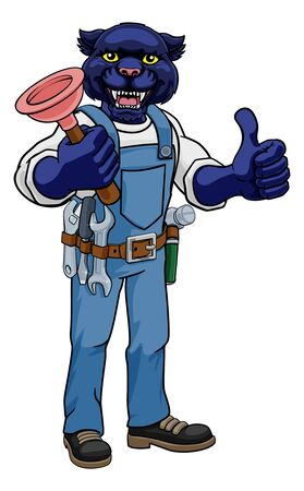 A panther plumber cartoon mascot holding a toilet or sink plunger