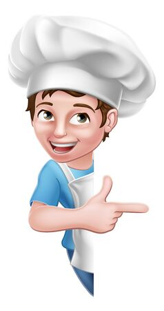 Kid Cartoon Boy Chef Cook Baker Child Sign