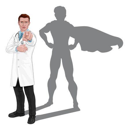Superhelden-Doktor will braucht Sie Zeigekonzept