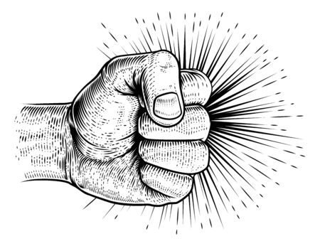 Fist Punching Vintage Propaganda Woodcut Style Illustration