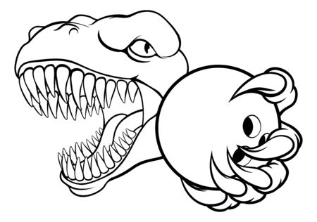 Dinosaur Bowling Player Animal Sports Mascot Vecteurs