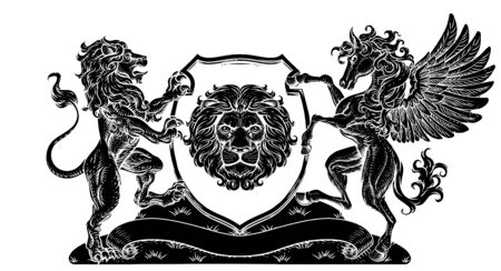 Coat of Arms Pegasus Lion Crest Shield Family Seal Vettoriali