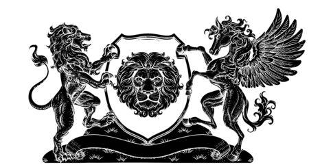 Coat of Arms Pegasus Lion Crest Shield Family Seal Illustration