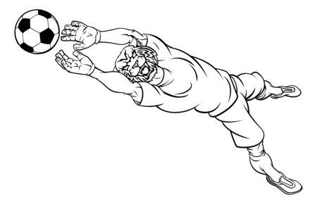 Wildcat Soccer Football Player Sports Mascot Illusztráció