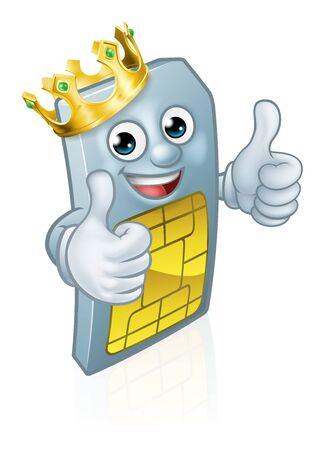 Sim Card Mobile Phone King Thumbs Up Mascot 向量圖像
