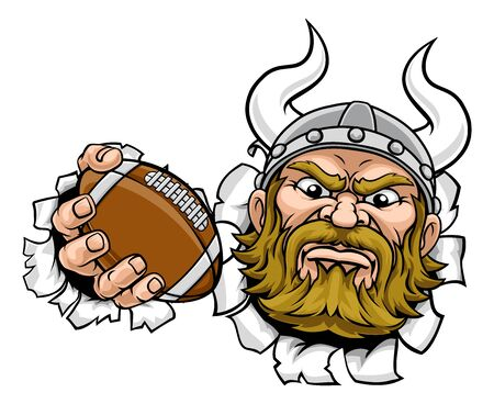 Viking American Football Sports Mascot Cartoon