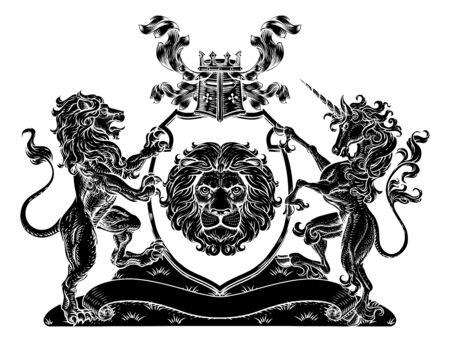 Coat of Arms Unicorn Lion Crest Shield Family Seal 일러스트