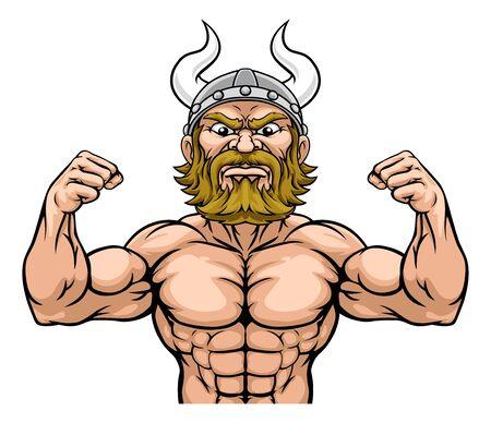 Viking Barbarian Mascot Muscle Strong Cartoon