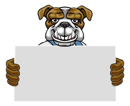 Bulldog Cartoon Mascot Handyman Holding Sign Vectores